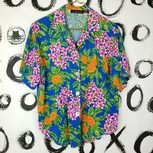 Vintage 90s Hawaiian Print Shirt Pineapples